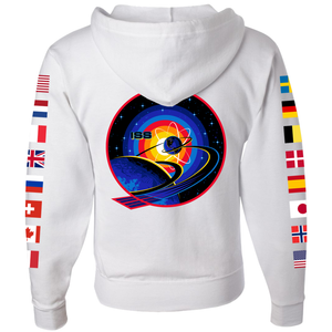 NASA International Space Station (ISS) White FULL-ZIP Hoodie - Back