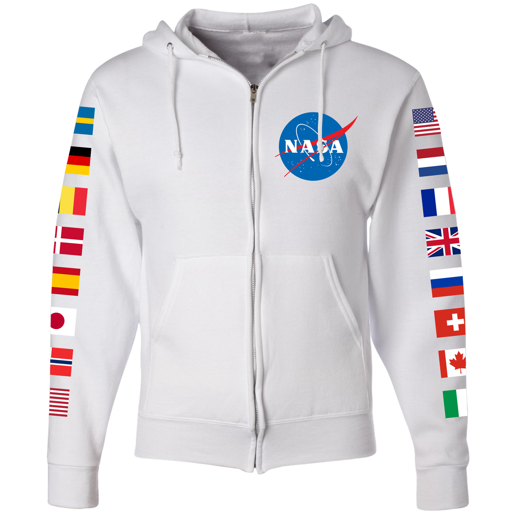 NASA International Space Station (ISS) White FULL-ZIP Hoodie - Front
