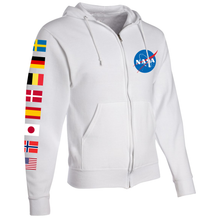 Load image into Gallery viewer, NASA International Space Station (ISS) White FULL-ZIP Hoodie - Right Sleeve