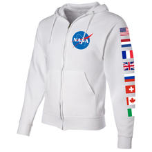 Load image into Gallery viewer, NASA International Space Station (ISS) White FULL-ZIP Hoodie - Left Sleeve