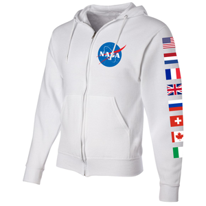 NASA International Space Station (ISS) White FULL-ZIP Hoodie - Left Sleeve