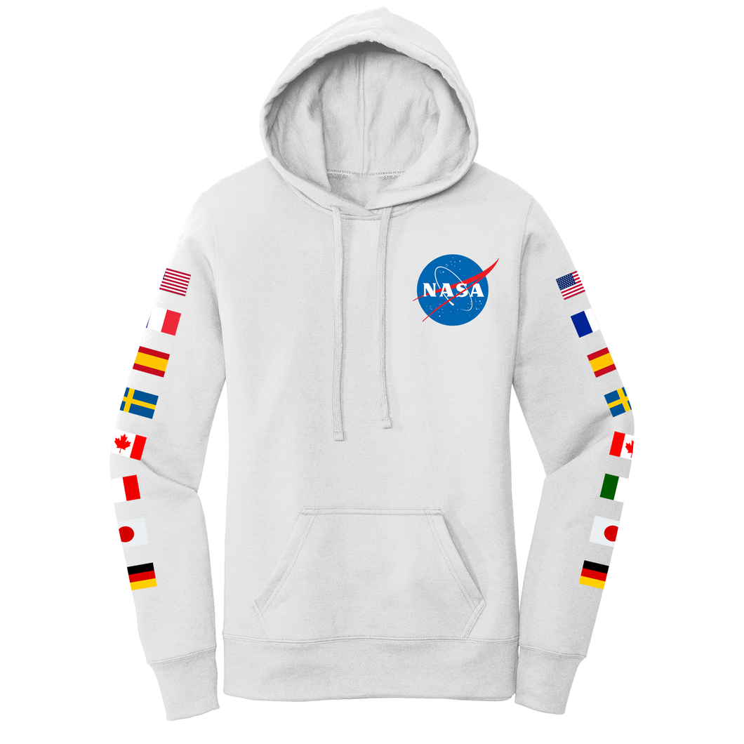 NASA Flag on Sleeves Women's Hoodie White - Front
