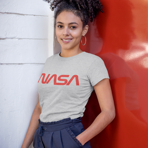NASA Insignia Worm Logo Women's Grey T-Shirt