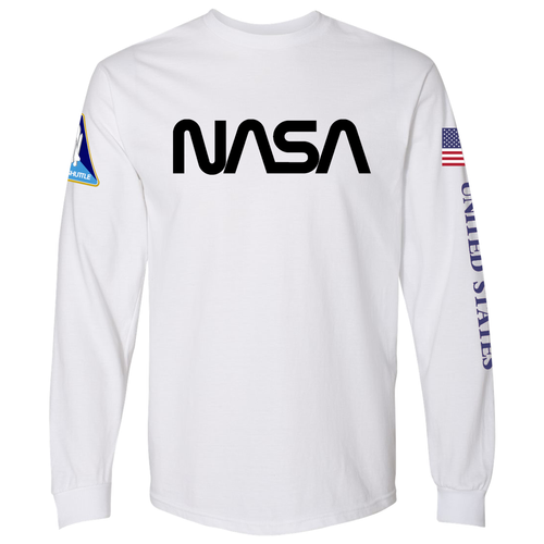Copy of NASA Worm (Black) and Shuttle Heavyweight White Long Sleeve T-Shirt for Men - Front