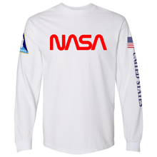 Load image into Gallery viewer, NASA Worm (Red) and Shuttle Heavyweight White Long Sleeve T-Shirt for Men - Front