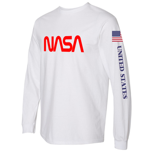 NASA Worm (Red) and Shuttle Heavyweight White Long Sleeve T-Shirt for Men - Left Side