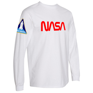 NASA Worm (Red) and Shuttle Heavyweight White Long Sleeve T-Shirt for Men - Right Side