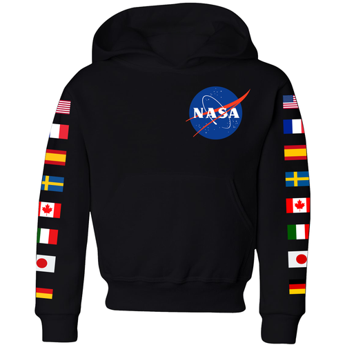 NASA Flag Sleeve Youth Hoodie Black - Front