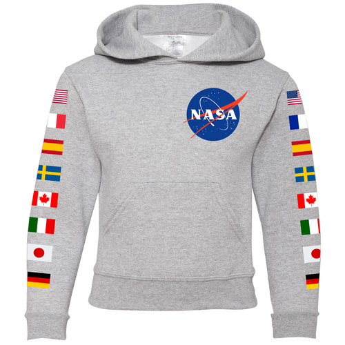 NASA Flag Sleeve Youth Hoodie Grey - Front