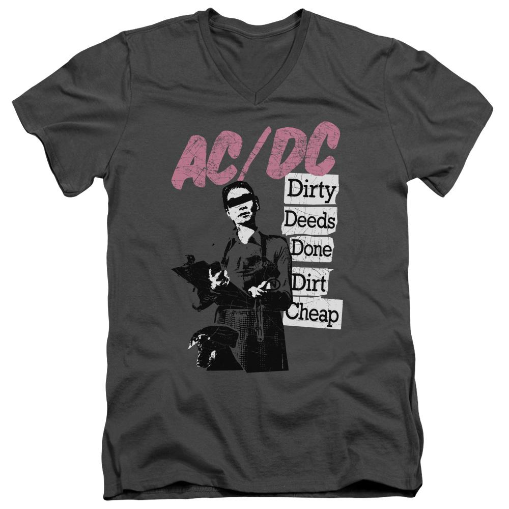 AC/DC Dirty Deeds V Neck  Band T-Shirt