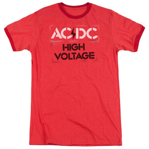 AC/DC High Voltage Stencil Heather Ringer  Band T-Shirt