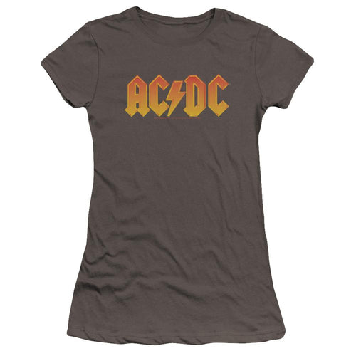 AC/DC Logo Premium Junior Girls Sheer Jersey Band T-Shirt
