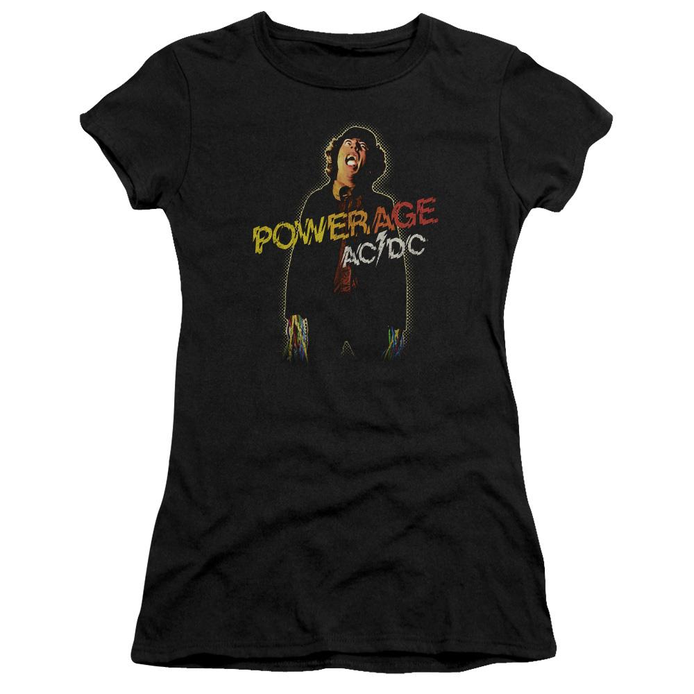 AC/DC Powerage Premium Junior Girls Sheer Jersey Band  T-Shirt