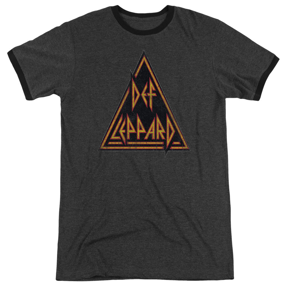 Def Leppard Distressed Logo Heather Ringer Band T-Shirt