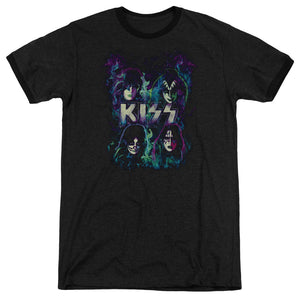 Kiss Blue Flames Heather Ringer Band T-Shirt