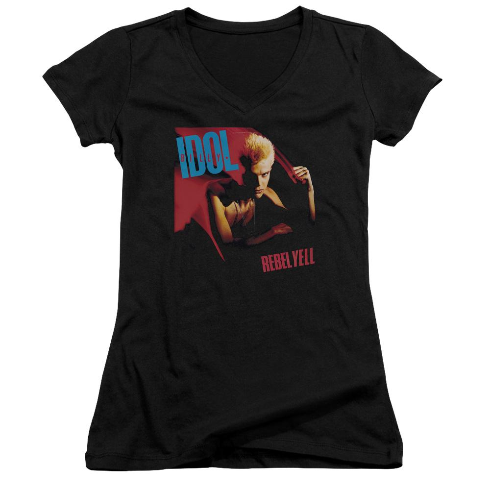 Billy Idol Rebel Yell Junior Girls V Neck Band  T-Shirt