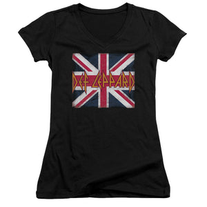 Def Leppard Union Jack Junior Girls V Neck Band  T-Shirt
