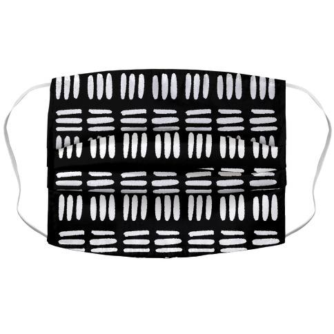 Dashed Lines Black and White Boho Pattern Fabric Face Mask-Graphic Tees Store