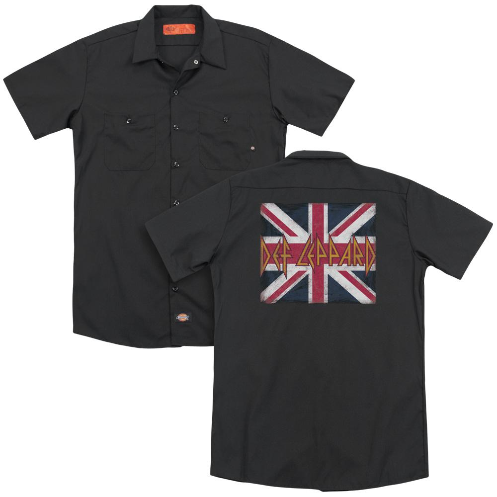 Def Leppard Union Jack (Back Print) Work Band T-Shirt