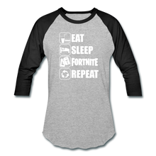Load image into Gallery viewer, Eat Sleep Baseball Fortnite White Design Video Game T-Shirt - heather gray/black