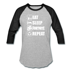 Eat Sleep Baseball Fortnite White Design Video Game T-Shirt - heather gray/black