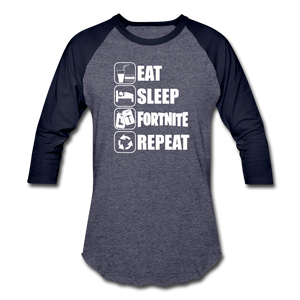 Eat Sleep Baseball Fortnite White Design Video Game T-Shirt - heather blue/navy