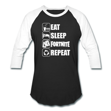 Load image into Gallery viewer, Eat Sleep Baseball Fortnite White Design Video Game T-Shirt - black/white