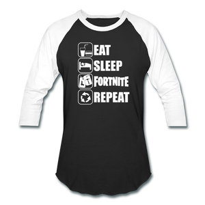 Eat Sleep Baseball Fortnite White Design Video Game T-Shirt - black/white
