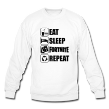 Load image into Gallery viewer, Eat Sleep Black Design Fortnite Crewneck Video Game Sweatshirt - white