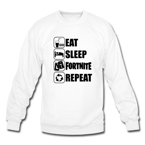 Eat Sleep Black Design Fortnite Crewneck Video Game Sweatshirt - white