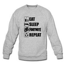 Load image into Gallery viewer, Eat Sleep Black Design Fortnite Crewneck Video Game Sweatshirt - heather gray