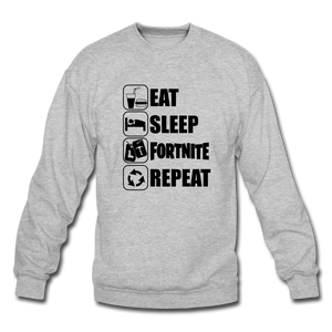 Eat Sleep Black Design Fortnite Crewneck Video Game Sweatshirt - heather gray