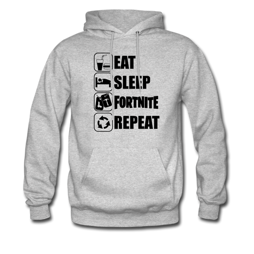 Eat Sleep Black Design Fortnite Hoodie Video Game Sweatshirt - heather gray