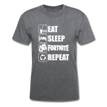 Load image into Gallery viewer, Eat Sleep Unisex Mineral Fortnite Video Game T-Shirt - mineral charcoal gray