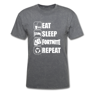 Eat Sleep Unisex Mineral Fortnite Video Game T-Shirt - mineral charcoal gray