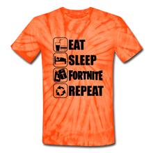 Load image into Gallery viewer, Eat Sleep Unisex Tie Dye Black Design Fortnite Video Game T-Shirt - spider orange