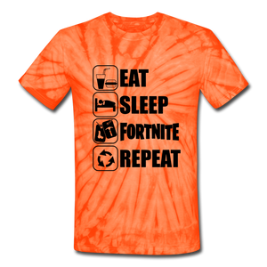 Eat Sleep Unisex Tie Dye Black Design Fortnite Video Game T-Shirt - spider orange