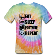 Load image into Gallery viewer, Eat Sleep Unisex Tie Dye Black Design Fortnite Video Game T-Shirt - rainbow