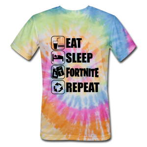 Eat Sleep Unisex Tie Dye Black Design Fortnite Video Game T-Shirt - rainbow