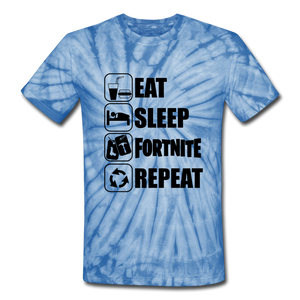 Eat Sleep Unisex Tie Dye Black Design Fortnite Video Game T-Shirt - spider baby blue