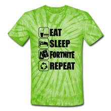 Load image into Gallery viewer, Eat Sleep Unisex Tie Dye Black Design Fortnite Video Game T-Shirt - spider lime green