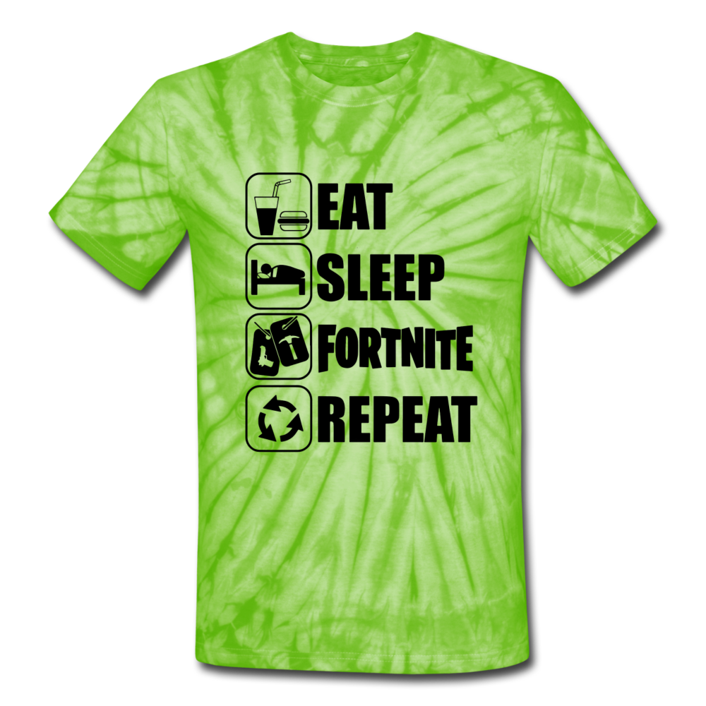 Eat Sleep Unisex Tie Dye Black Design Fortnite Video Game T-Shirt - spider lime green
