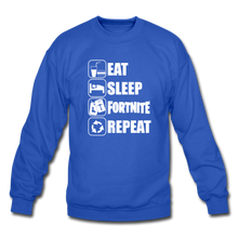 Load image into Gallery viewer, Eat Sleep White Design Fortnite Crewneck Video Game Sweatshirt - royal blue