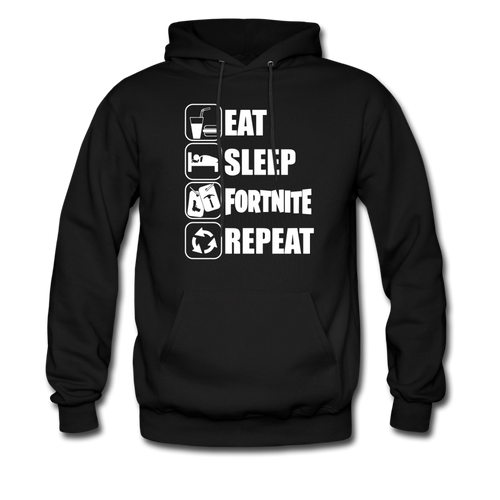 Eat Sleep White Design Fortnite Hoodie Video Game Sweatshirt - black