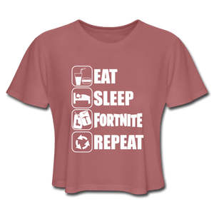 Eat Sleep White Design Fortnite Women's Cropped Video Game T-Shirt - mauve
