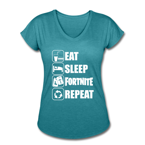 Eat Sleep White Design Fortnite Women's V-Neck Video Game T-Shirt - heather turquoise