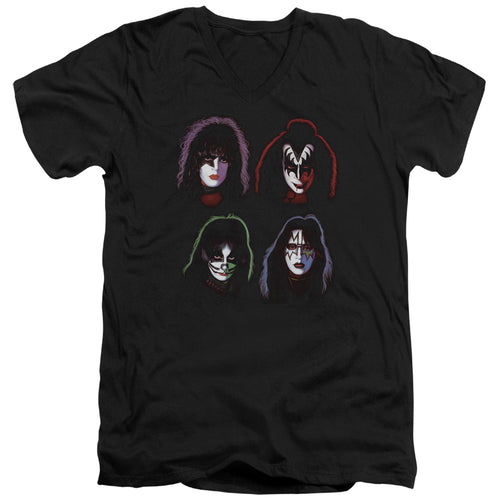 Kiss Solo Heads V Neck Band T-Shirt