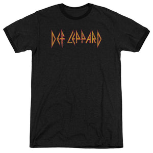 Def Leppard Horizontal Logo Heather Ringer Band T-Shirt