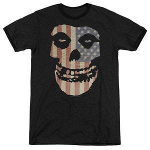 Misfits Fiend American Flag Heather Ringer Band T-Shirt