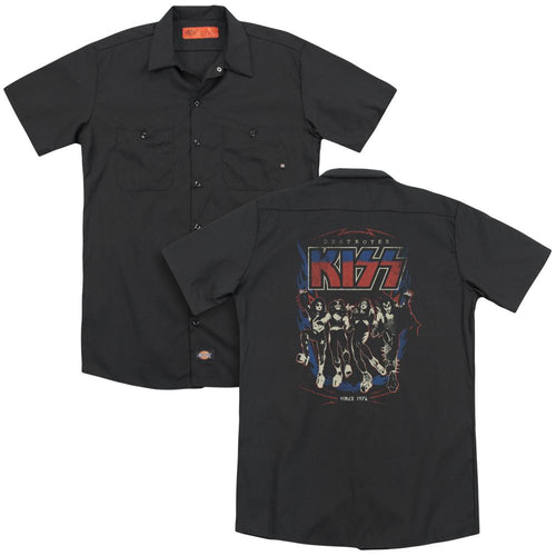 Kiss 1976 Destroyer (Back Print) Adult Band Work T-Shirt